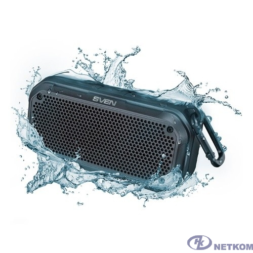 SVEN PS -240,  черный  (12  Вт,  Waterproof  (IPx7),  TWS, Bluetooth, microSD, карабин, 2000мА*ч),