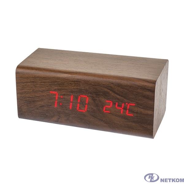"Perfeo LED часы-будильник ""Block"", коричневый/красная (PF-S718T) время, температура"
