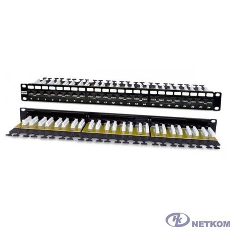 """Hyperline PP2-19-24-8P8C-C6A-110D Патч-панель 19"""", 1U, 24 порта RJ-45, неэкранированная, категория 6A, Dual IDC"""