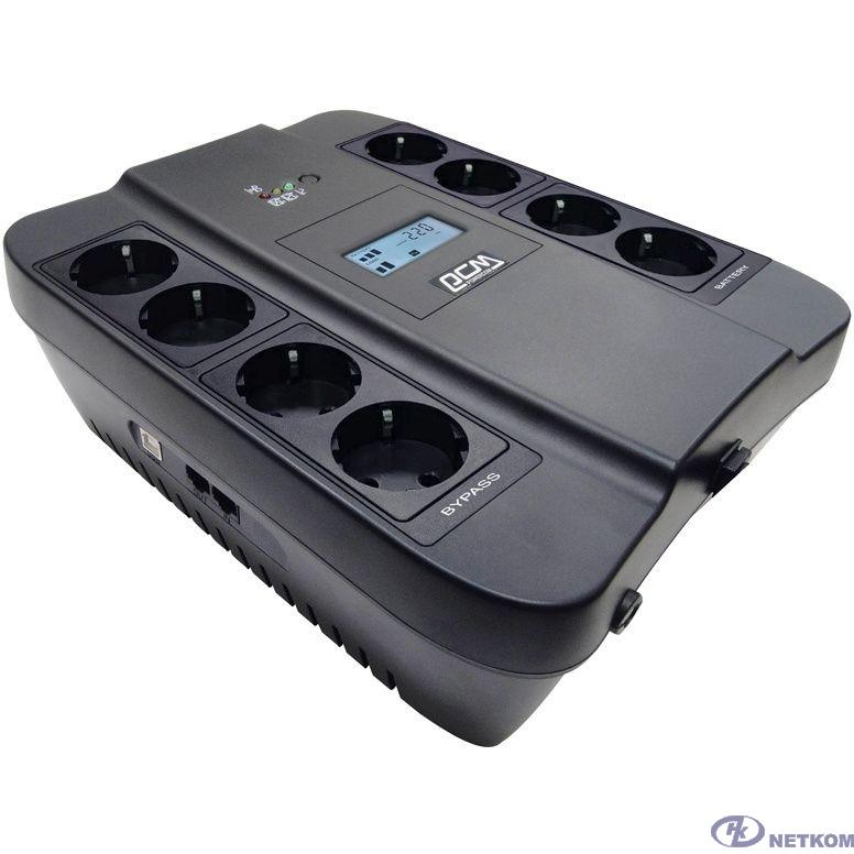 UPS PowerCom SPD-550U LCD {Line-Interactive, 550VA / 330W, 8xEURO: 4 с резервным питанием, 4 с фильтрацией, USB}