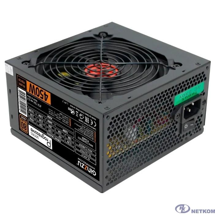 Ginzzu PB450 12CM 80+ black,APFC,20+4p,1 PCI-E(6+2), 4*SATA, 2*IDE, OEM
