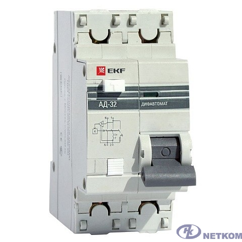 EKF DA32-16-30-pro Дифференциальный автомат АД-32 1P+N 16А/30мА (хар. C, AC, электронный, защита 270В) 4,5кА EKF PROxima