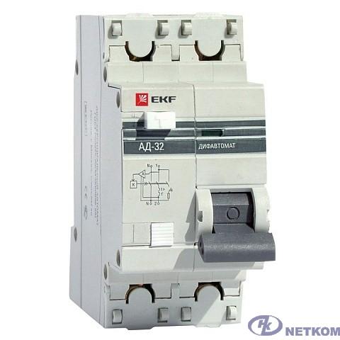 EKF DA32-20-30-pro Дифференциальный автомат АД-32 1P+N 20А/30мА (хар. C, AC, электронный, защита 270В) 4,5кА EKF PROxima