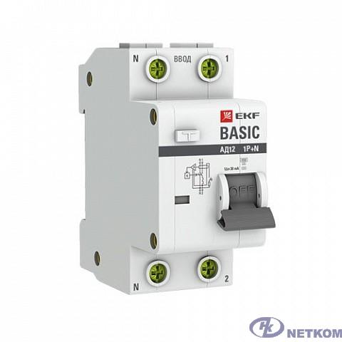 EKF DA12-10-30-bas Дифференциальный автомат 1P+N 10А 30мА тип АС х-ка C эл. 4,5кА АД-12 EKF Basic