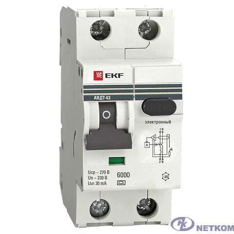EKF DA63-40-100em Дифференциальный автомат АВДТ-63 40А/100мА (характеристика C, эл-мех тип A) 6кА EKF PROxima