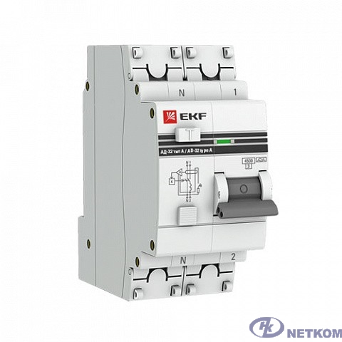 EKF DA32-16-30-a-pro Дифференциальный автомат АД-32 1P+N 16А/30мА (тип А) EKF PROxima