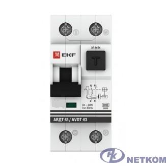 EKF DA63-16-30e Дифференциальный автомат АВДТ-63 16А/30мА (хар-ка C, электронный тип A) 6кА EKF PROxima