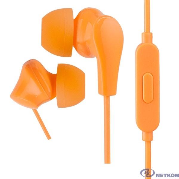 Perfeo наушники внутриканальные c микрофоном ALPHA оранжевые