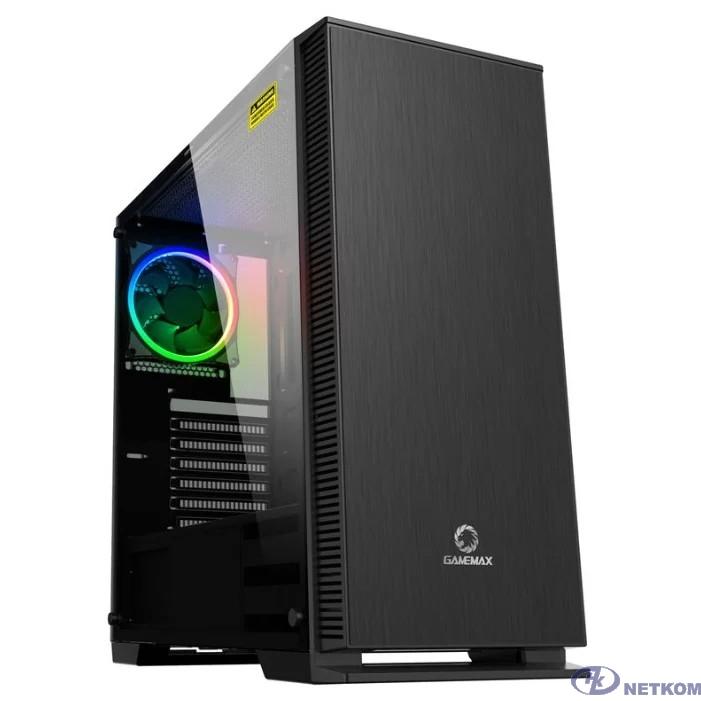GameMax [Aurora W901] (ATX,Черн.,Зак.стекло,1*120мм RGB вент + контроллер, сет.фильтр, без БП)