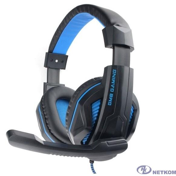 """Gembird MHS-G215, код """"Printbar"""", черный/синий, регулировка громкости, кабель2м"""