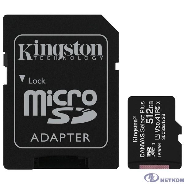 Micro SecureDigital 512Gb Kingston Class 10 UHS-I U3 Canvas Select Plus (SD адаптер) 100MB/s SDCS2/512GB