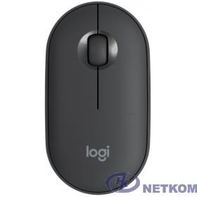 910-005718 Мышь Logitech Pebble M350 графитовый оптическая (1000dpi) silent беспроводная BT USB для ноутбука (3but)