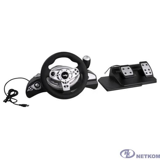 Магазин Нетком Мск - Dialog Игровой руль GW-255VR CyberPilot - вибро, 2 педали+рычаг, PC