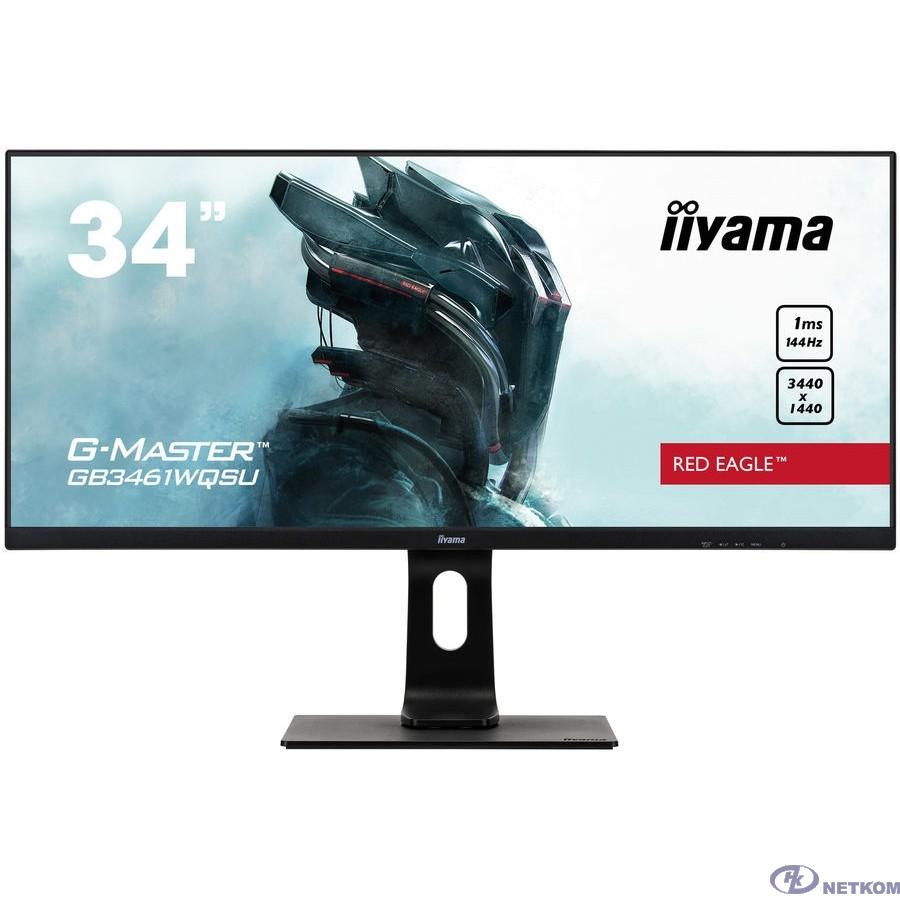 """IIYAMA 34"""" GB3461WQSU-B1  {IPS 3440x1440(UWQHD) nonGLARE, 350cd/m2, H178°/V178°, 1000:1, 80M:1, 16.7M, 1ms, VGA, 2xHDMI, 2xDP, USB-Hub, Height adj, Pivot, Tilt, Swive}"""