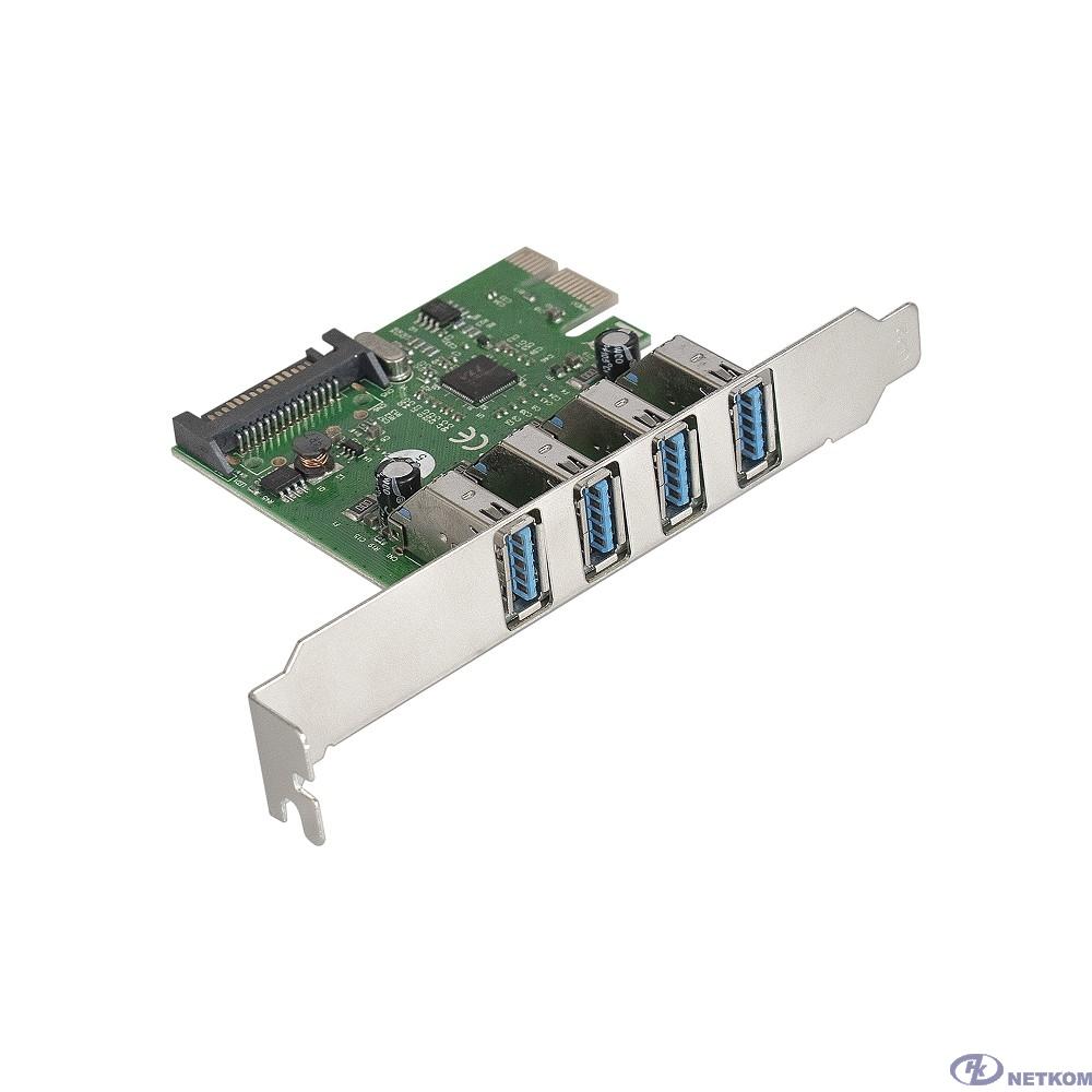 Exegate EX283716RUS Контроллер EXE-314 PCI-E 2.0, 4*USB3.0 ext, разъем доп.питания (OEM)