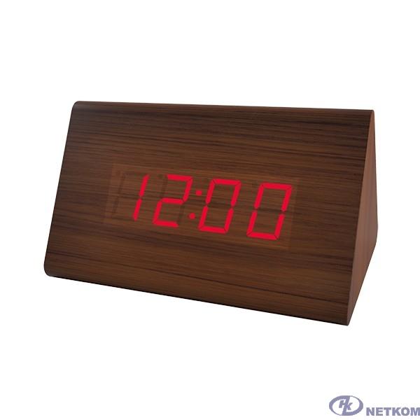 "Perfeo LED часы-будильник ""Trigonal"", коричневый / красная (PF-S711T) время, температура"