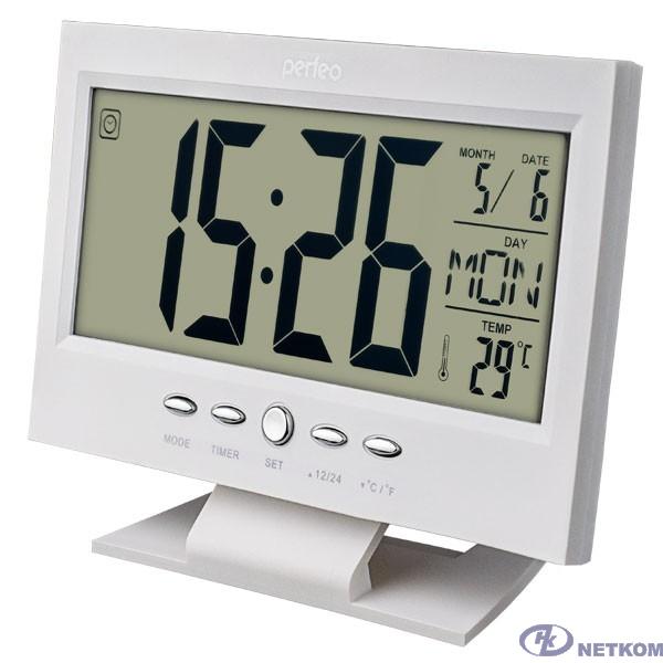 "Perfeo Часы-будильник ""Set"", белый, (PF-S2618) время, температура, дата"