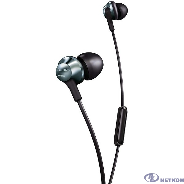 Гарнитура премиум PHILIPS PRO6105BK/00 / Микрофон / Проводная вакуумная / Вкладыши / Сменные накладки / Mini-jack 3.5 мм. / Кабель 1.2 м. / Черный