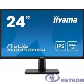 IIYAMA 23.8'' XU2493HSU-B1 черный {IPS 1920х1080 75hz 4ms 250cd 178/178 1000:1 8bit(6bit+FRC) D-Sub HDMI1.4 DisplayPort1.2 2xUSB2.0 Tilt 2x2W VESA}