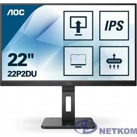 LCD AOC 21.5'' 22P2DU Черный {IPS 1920х1080 75Hz 250cd 8bit 178/178 1000:1 4ms D-Sub DVI HDMI1.4 AudioOut 2x2W 4xUSB3.2 FlickerFree Pivot Tilt Swivel VESA}