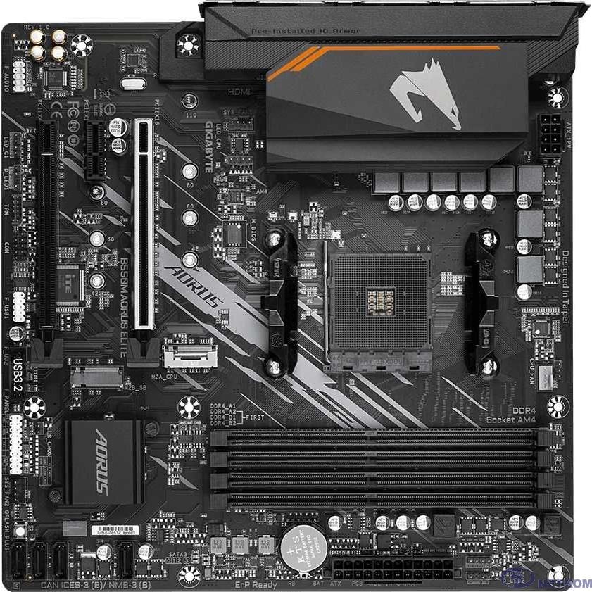 Gigabyte B550M AORUS ELITE 1.1 {Soc-AM4 AMD B550 4xDDR4 mATX AC`97 8ch(7.1) GbLAN RAID+DVI+HDMI}