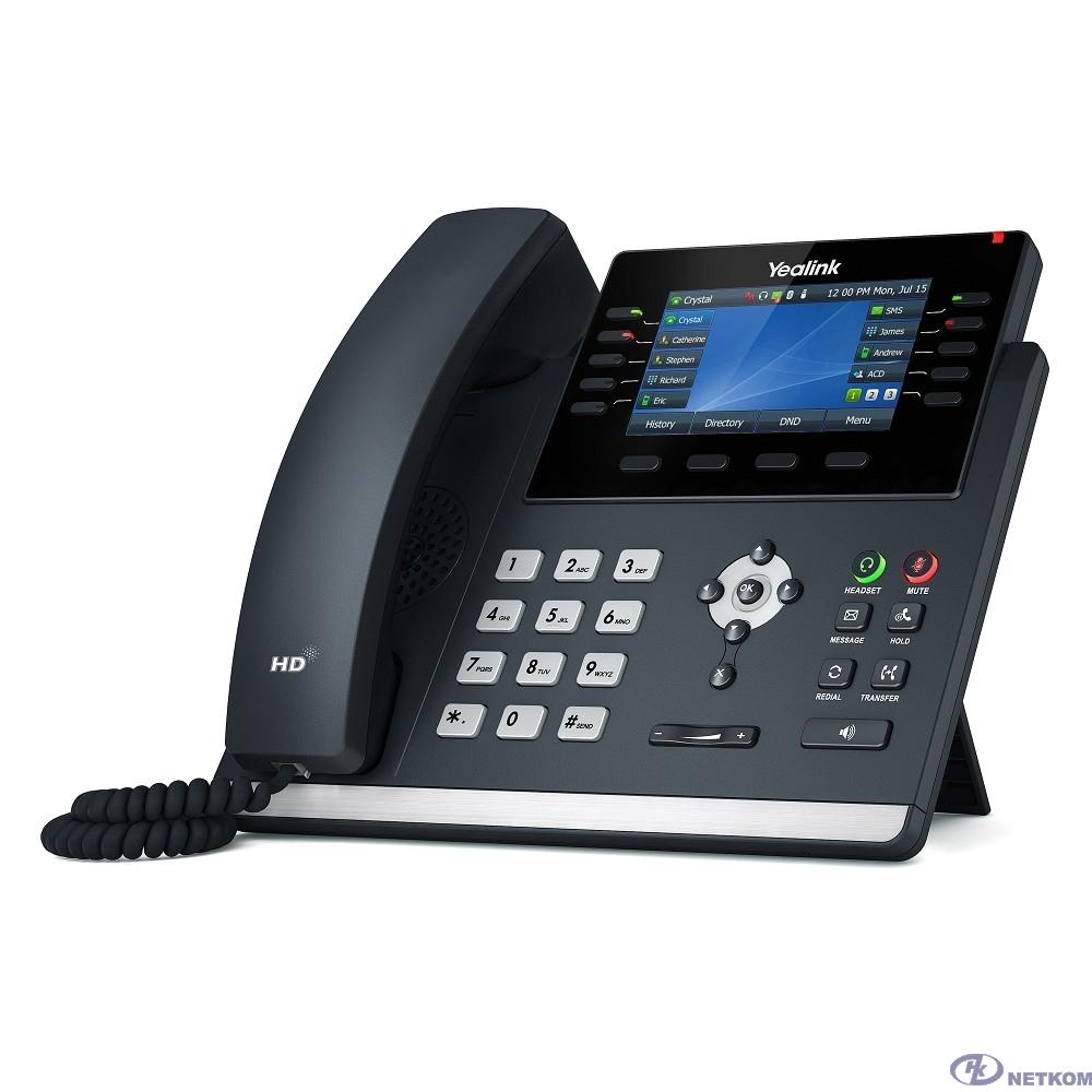 YEALINK SIP-T46U SIP-телефон, цветной экран, 2 порта USB, 16 аккаунтов, BLF, PoE, GigE, без БП