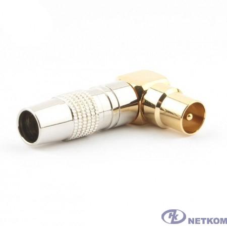 Cablexpert Разьем TV (папа) позолоченный, латунь OD8.5, 90 градусов, блистер (TVPL-07)