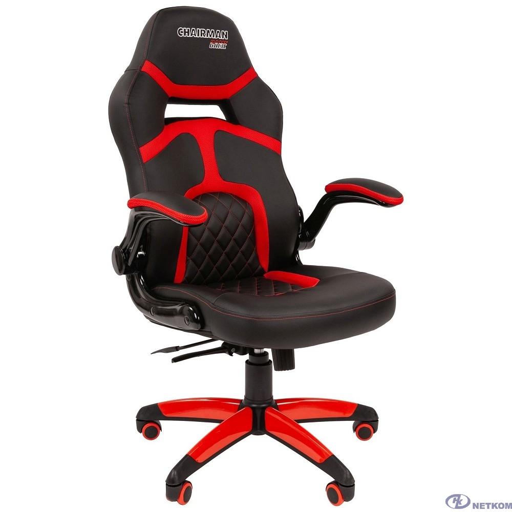 Офисное кресло Chairman   game 18 Россия экопремиум черный/красный (7051189)