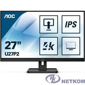 """LCD AOC 27"""" U27P2 черный {IPS 3840x2160 4ms 178/178 350cd 1000:1 75Hz 10bit(8bit+FRC) HDMI2.0 DisplayPort1.2 4xUSB3.2 VESA 2x2W}"""