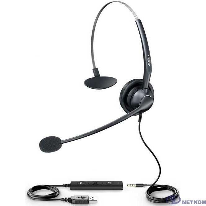 YEALINK UH33 Головная проводная гарнитура с шумоподавлением, моно, разъемы jack 3.5 mm и USB