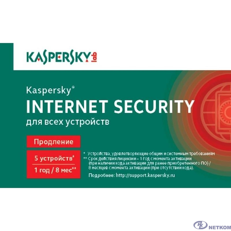 KL1939ROEFR Kaspersky Internet Security Russian Edition. 5-Device 1 year Renewal Card {1402781} [909116]