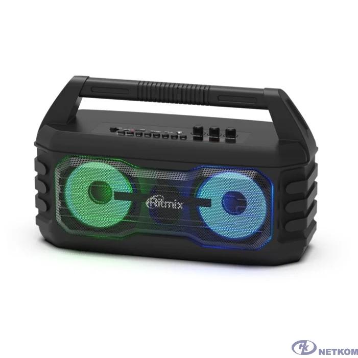 RITMIX SP-610B black {AUX, USB, microSD (MP3, WAV, WMA, APE), RGB-подсветка, эквалайзер, дисплей: LED, возможность, микрофонный вход Jack 6,3 мм, 2000 мАч, microUSB DC 5В 1A, 38*23*16 см, пластик, чер