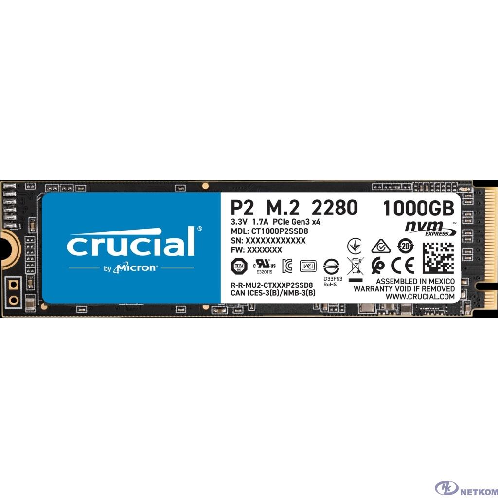 Crucial SSD 1000GB P2 M.2 NVMe PCIEx4 80mm Micron 3D NAND  2300/1150 MB/s CT1000P2SSD8