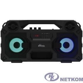 RITMIX SP-690B black {Jack 6.3 мм c функцией ЭХО, дисплей: LED, эквалайзер, RGB-подсветка, до 8 часов, 2000 мАч, 7.4 В, microUSB DC 5В 2A, 46 ? 24.3 ? 17.5 см, пластик, черный}