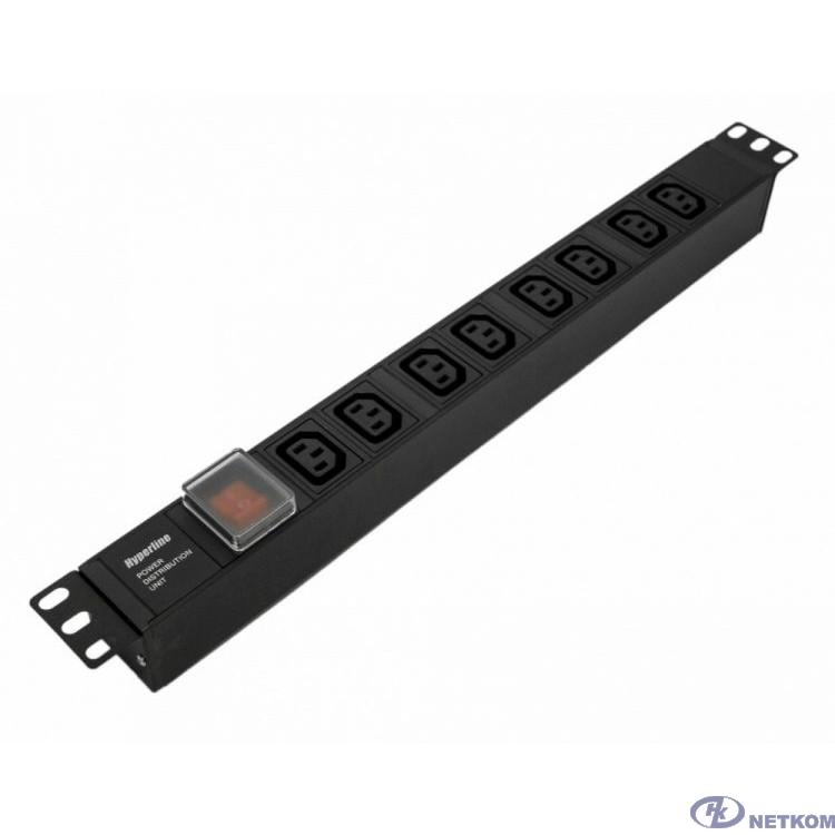 """Hyperline SHE19-8IEC-S-IEC Блок розеток для 19"""" шкафов, горизонтальный, с выключателем с подсветкой, 8хIEC 320 C13, 10A, 250В, без кабеля питания, входная розетка IEC 320 C14, 482.6x44.4x44.4мм(ДхШхВ)"""