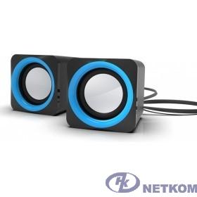 RITMIX SP-2025 Black-blue {5 Вт (2*2,5 Вт), 45 мм, USB, jack 3.5 мм,  60-20000 Гц, рег. громкости, 62*62*65 мм, черный-синий}
