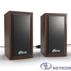 RITMIX SP-2052w Cherry {6 Вт (2*3 Вт), 50 мм, USB, jack 3.5 мм, 60-20000 Гц, рег. громкости, МДФ+металл, 98*78*140 мм, вишня}