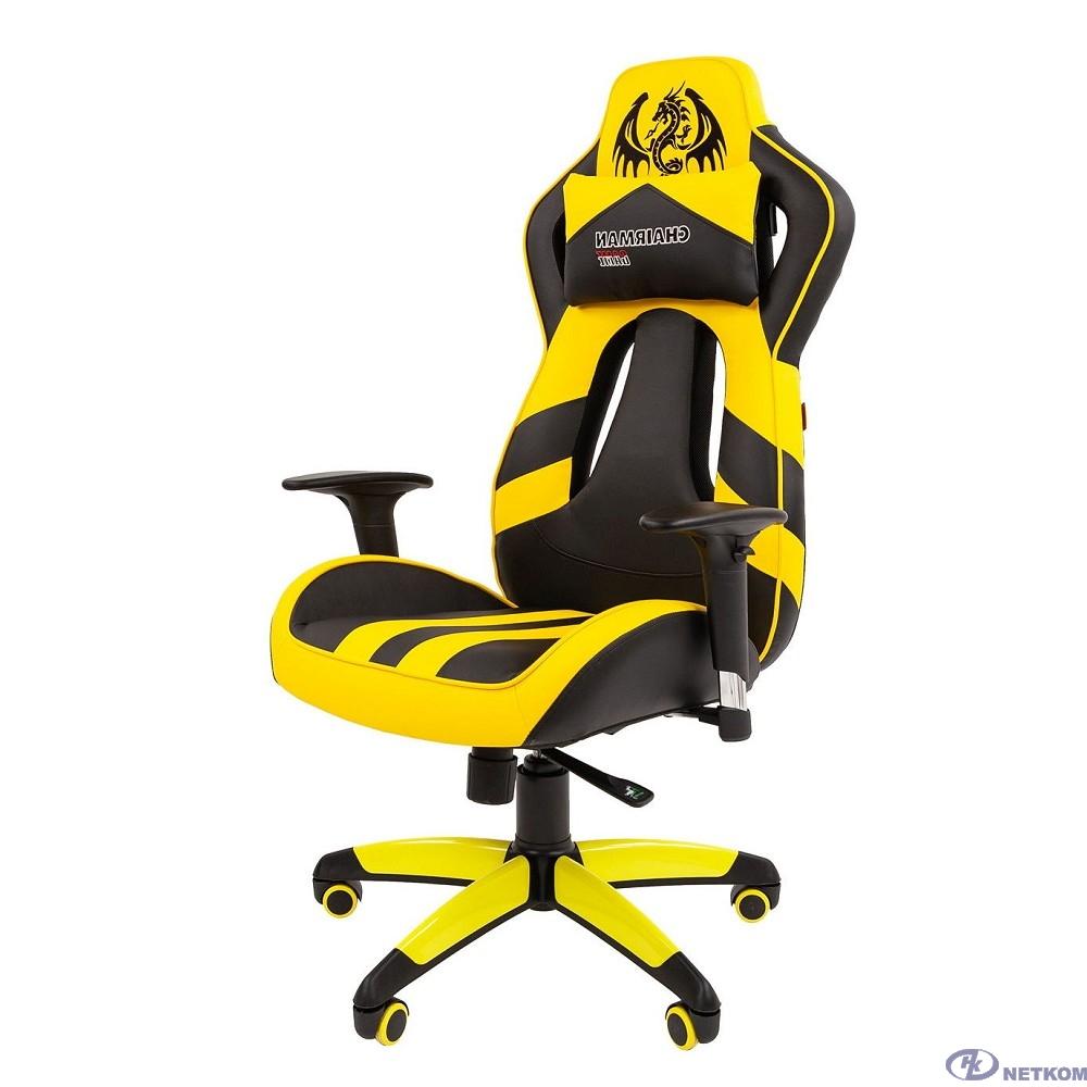 Офисное кресло Chairman  game 25 Россия экопремиум черный/желтый (7054100)