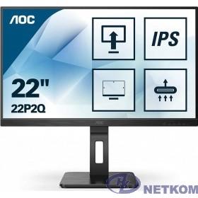 "LCD AOC 21.5"" 22P2Q Black с поворотом экрана {IPS, 1920x1080, 75Hz, 4 ms, 178°/178°, 250 cd/m, 50M:1, +DVI, +HDMI, +2xDisplayPort 1.2, +4xUSB 3.2, +MM}"