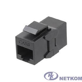 Hyperline CA2-KJ-C6-BK Проходной адаптер (coupler), RJ-45(8P8C) формата Keystone Jack, категория 6, 4 пары, черный