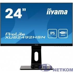 "IIYAMA 23.8"" XUB2492HSN-B1 {IPS 1920х1080 250cd 178/178 1000:1 80M:1 16.7M 4ms D-Sub HDMI DisplayPort USB-Hub}"