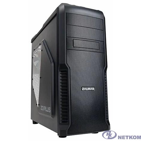 """Корпус Zalman Z3 Plus, без БП, тощина металла 0.4мм, боковое окно, черный,  ATX, Видеокарта до 360мм, 7 слотов расширения, 2 внешние секции 5.25"""", 4 внутренние 3.5"""", охлаждение спереди (120мм fan x 2)"""