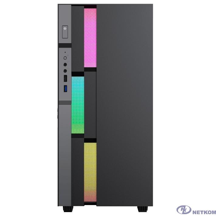 GameMax Корпус Brufen C3 BG без БП, MidiT, ATX, Корич.,черно/серый  Зак. стекл., USB 3.0, 1*120; 1*140мм вент.