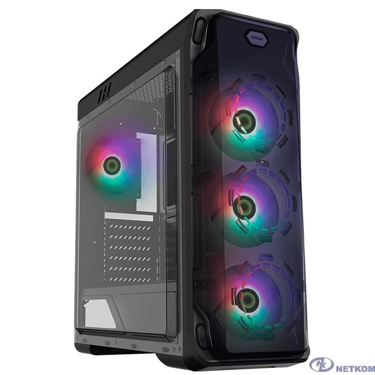 GameMax Корпус StarLight (FRGB) BK (Черный, Окно, USB 3.0, 4*120mm вент. FRGB, контроллер, без БП)