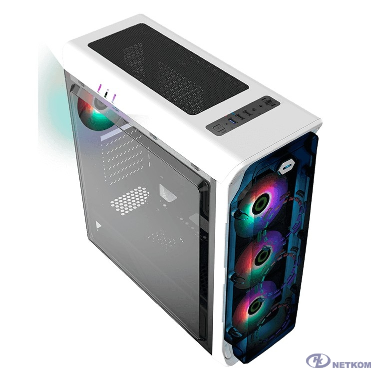 GameMax Корпус StarLight (FRGB) WT (Белый, Окно, USB 3.0, 4*120mm вент. FRGB, контроллер, без БП)