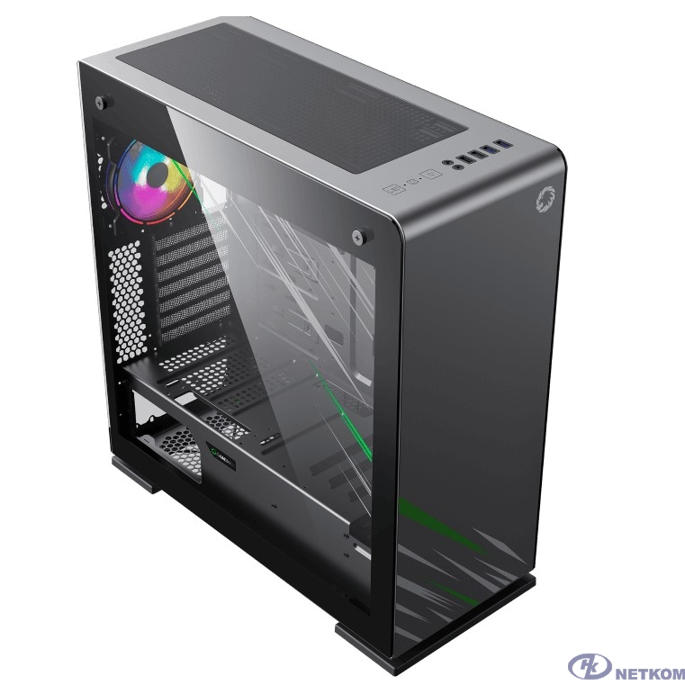 GameMax Корпус Vega pro Gery без БП (Full ATX, Серый, Зак.стекло, USB 3.0, 3*120mm вент.)