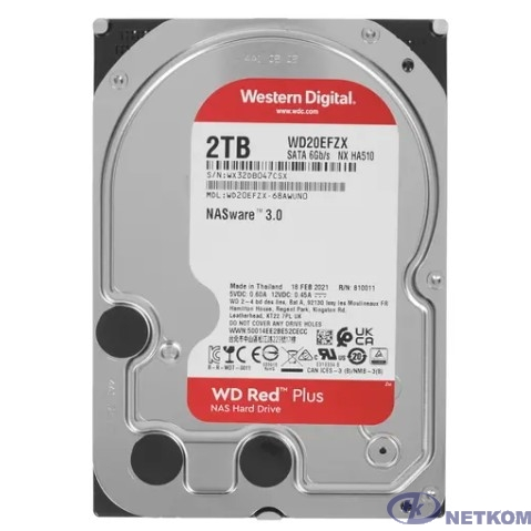"""2TB WD NAS Red Plus (WD20EFZX) {Serial ATA III, 5400- rpm, 256Mb, 3.5""""}"""