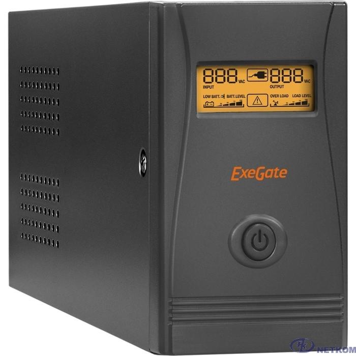 Exegate EP285478RUS ИБП ExeGate Power Smart ULB-850.LCD.AVR.EURO.RJ.USB <850VA/480W, LCD, AVR, 2 евророзетки, RJ45/11, USB, Black>