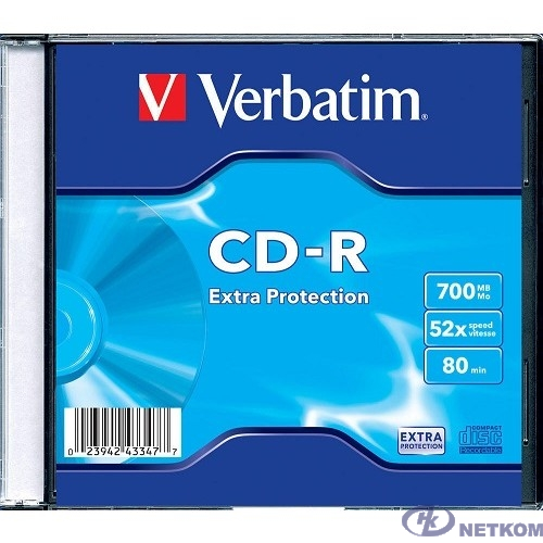 Verbatim Диски CD-R 700Mb 80 min 48-х/52-х (Slim case)[43347]