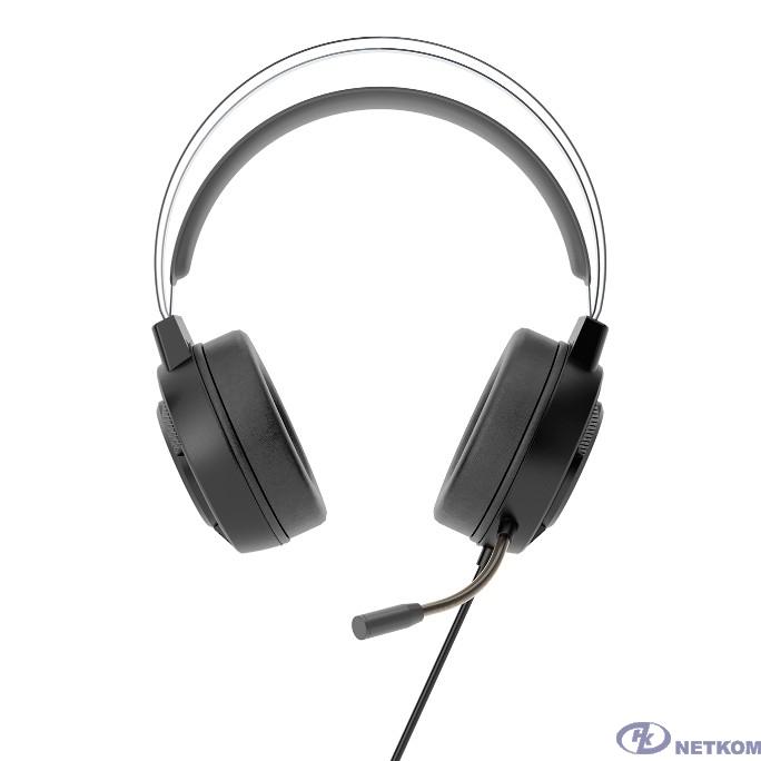 CBR CHP 822 Armor, Компьютерная гарнитура проводная стерео, игровая, полноразм. наушники, микрофон с шумоподав., USB/2хмини-джек 3,5 мм, LED-подсветка, эргоном. дизайн, длина каб. 1,8 м, цвет чёрный